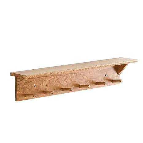 Perchero de entrada de madera de roble Montado en la pared ...
