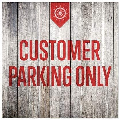 Nautical Wood Window Cling 12x12 CGSignLab 5-Pack Customer Parking Only