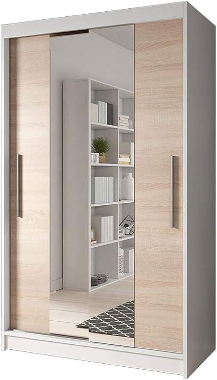 Idzczak Meble Armario Neomi con Espejo pequeño Armario de Dormitorio Salón Armario de Puertas correderas y diseño Moderno Color Blanco Negro: Amazon.es: Juguetes y juegos