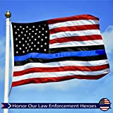 G128 - Thin Blue Line Thin Red Line EMBROIDERED 3X5ft 210D Oxford Nylon U.S. American Flag Brass Grommets
