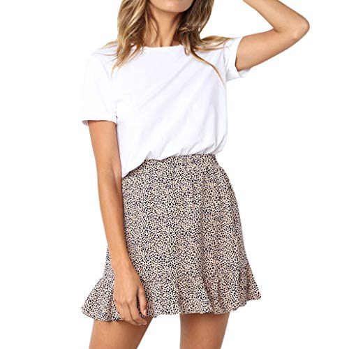 (Colmkley Women's Casual Vintage Dot Printed High Waist Ruffle Short Mini Skirt Beige)