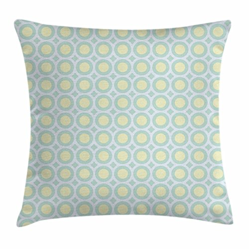 Aqua Throw Pillow Cushion Cover by Ambesonne, Retro Circles Inner Dots 60s 70s Inspired Horizontal Artwork, Decorative Square Accent Pillow Case, Yellow Pale Blue White and Seafoam 51Fc55dFvoL