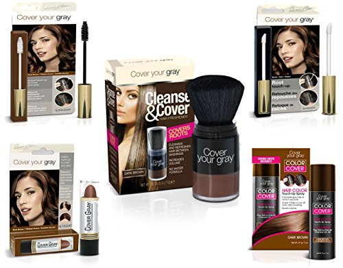 Cover Your Roots - Cover, Cleanse and Refresh: 5 Piece Gray Coverage Set, Dark Brown by Cover Your Gray