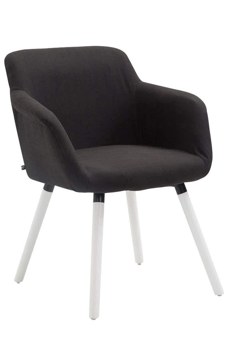Confortable avec Accoudoir Dossier et Pieds en Bois Chaise Design Retro Scandianve CLP Chaise de Salle /à Manger Debbie Tissu Blanc Couleur: Noir