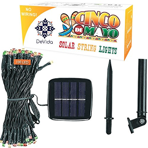DeVida Cinco de Mayo Solar String Lights in Red Green White, 100 Waterproof Mini LED Set, 13ft Lead Wire for Holiday Fiesta Party Supplies, Tree wrap, Patio, Garden, Home Decor, Wall,