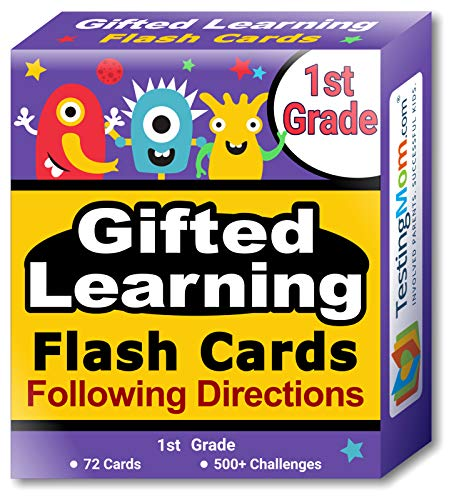 TestingMom.com Gifted Learning Flash Cards - Following Directions for Grade 1 - Educational Practice for CogAT Test, OLSAT Test, ITBS, NYC Gifted and Talented, WISC, WPPSI -