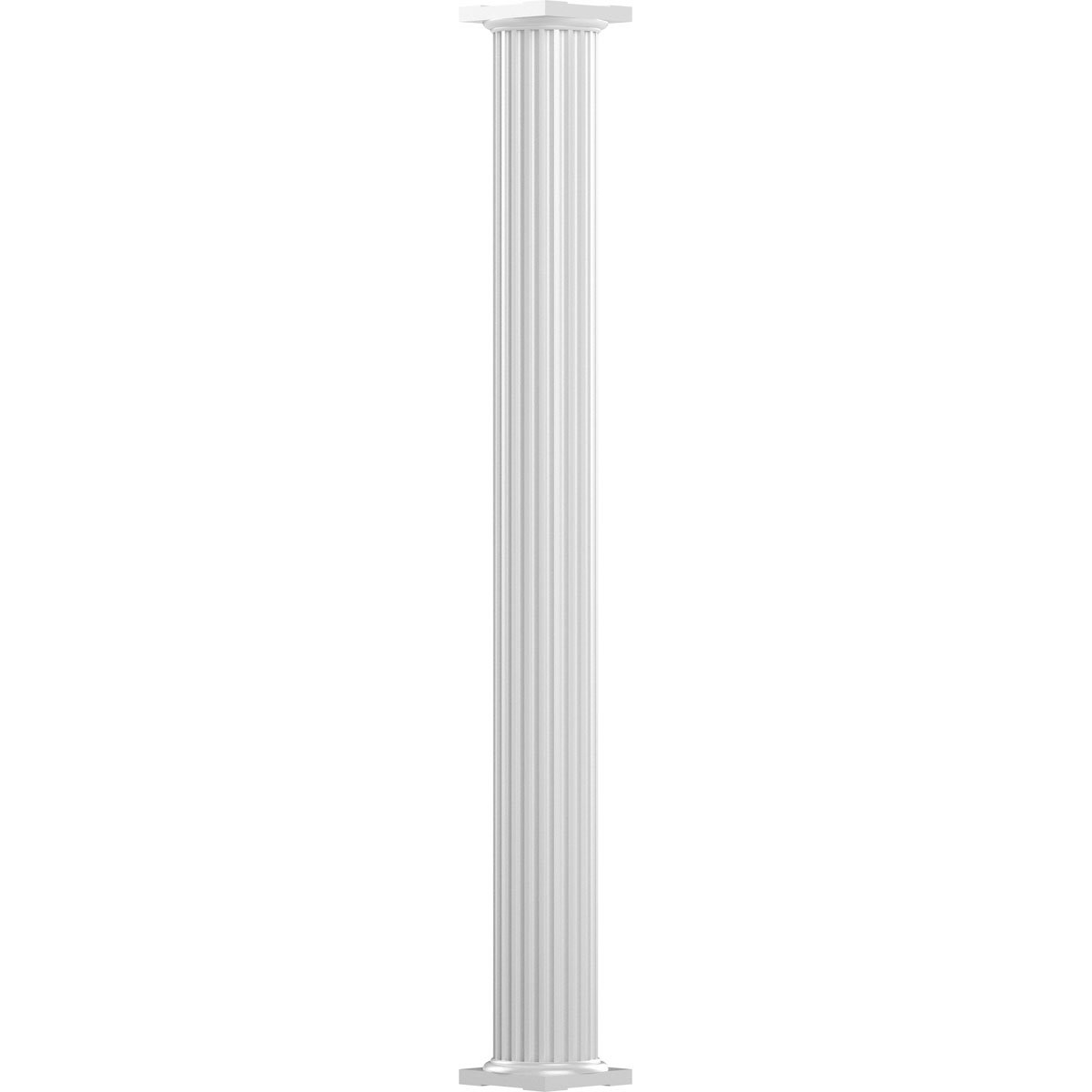 AFCO EA0810ANFSATUTU 8'' x 10' Endura-Aluminum Column, Round Shaft (Load-Bearing 21,000 lbs), Non-Tapered, Fluted, Gloss White Finish w/ Capital & Base by Afco