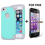 iPhone SE Cases, NOKEA 2in1 Hybrid Case for Iphone 5S. Hard Cover for Iphone 5 Printed Design Pc+ Silicone Hybrid High Impact Defender Case Combo Hard Soft with Free Tempered Glass (Aqua Grey)