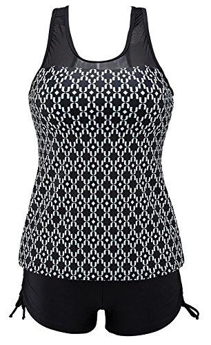 Printed Boyshort - Eomenie Women's Two Piece Swimwear Swimsuits Bathing Suit For Women Plus Size Tankini With Boyshort