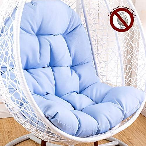 椅子クッション、卵ハンモックチェアパッド防水ポリエステル生地、ソフトで快適Papasanパティオシートクッション-L125xW95cmハンギングバスケットシートクッション厚み付けハンギングスイング (色 : Sky blue)
