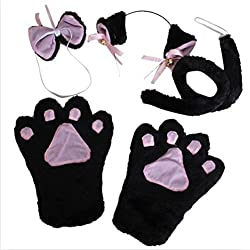 Tinksky Cute Cat Cosplay Set Including Paw Claw Gloves Ear Hairclip Tail Bow Tie(Black)
