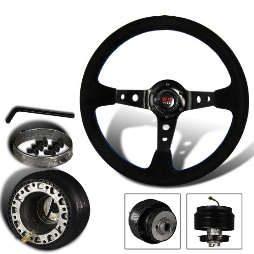 350mm 6 Hole Black Suede Leather Blue Stitches Deep Dish Steering Wheel + Ford Mustang Hub Adapter