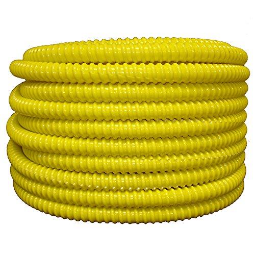 Tubo flexible corrugado de PVC dividido y telar de alambre, 3/4' dia x 100 ft, Amarillo