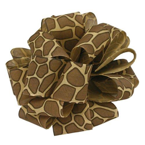 Giraffe Ribbon - Offray Jungle Giraffe Animal Print Craft Ribbon, 1-1/2-Inch Wide by 25-Yard Spool, Brown