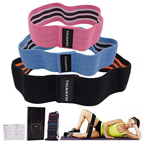Shawwing Resistance Bands Set for Legs and Butt,Exercise Bands Workout Hip Flexor Circle Thruster Abductor Bands,Squat Booty Bands Active Glute Looped Bands,Non Slip Non Rolling Fabric Bands 3 Packs