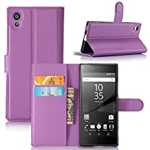 Sony Xperia XA1 Case, DISLAND(TM) Flip PU Leather Card Slot Case Magnetic Closure Stand Pouch Cover Fashion Wallet Case Cover for Sony Xperia XA1,Purple