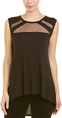 BCBGMAXAZRIA Womens Sleeveless Top Tulle Insert