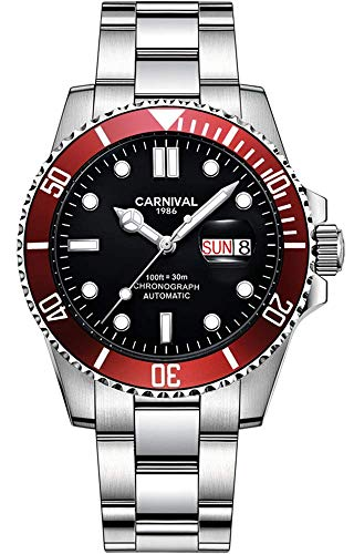 Mens Automatic Watches Classic Rotatable Bezel Stainless Steel Diving Watch Luxury Dress Wrist Watch (Silver Black red)