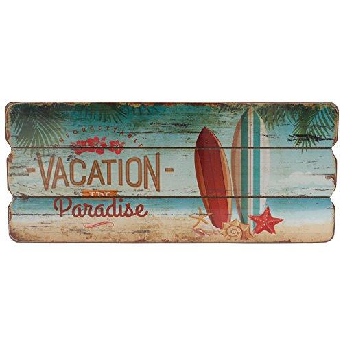 Wand-Dekoration Holz-Schild Paradise Türschild MDF Trip Dekoschild Strand Urlaub Vacation 34x15 cm