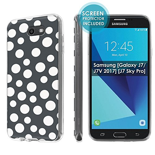 [Nakedshield] Slim Flexi Case For Samsung [Galaxy Halo] [2017] Galaxy J7 [Galaxy Prime/Perx/Sky Pro] [Clear] Total Armor Rubber Gel Phone Case [Screen Protector]- [Dancing Polka Dot] Print Design