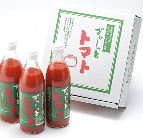 北海道 トマトジュース 食塩無添加 500ml とまとじゅーす 無塩 × 3本入 瓶入り「ぎゅーっとトマト」 100% ジュース 当麻産 エコみらい