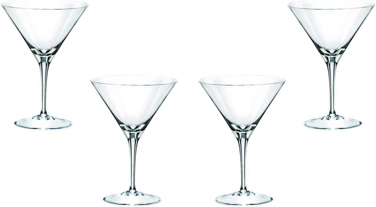 Invino Martini Stemless Glasses 12 Oz, Modern Crystal Clear Glassware Set of (4)