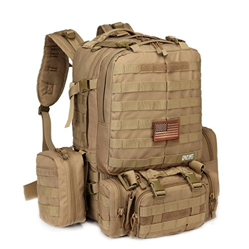CRAZY ANTS Tactical Military Backpack Rucksacks Camping Backpack w/EMT First Aid IFAK Utility Pouch, Coyote Brown