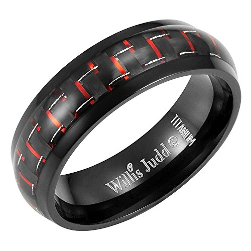 - Willis Judd 7mm Titanium Red Carbon Fiber Ring in Velvet Gift Packaging Black- Size 8