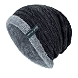 Knitted Hats Unisex Fleece Lining Slouch Skull Beanies Caps Winter Warm Knit Hat (Black)