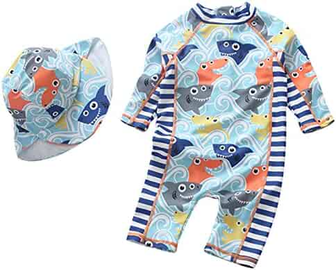 fa2837d6bee54 Sun Protective Baby Boys Swimsuit Toddlers One Piece Swimwear with Hat  Shark Rash Guard UPF 50