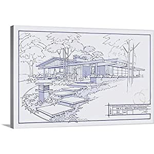 Larry Hunter Gallery-Wrapped Canvas entitled 301 Cypress Dr. Blueprint