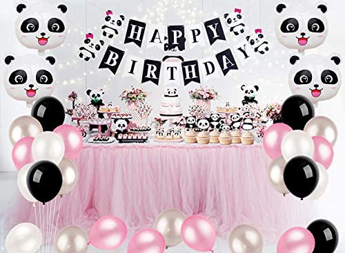 Kreatwow Panda Party Decorations Supplies Girls Birthday Banner