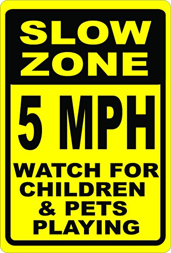 Slow Zone 5 MPH Watch for Children & Pets Playing Sign. 12x18 Metal. Help Keep Neighborhoods Safe. Made in USA