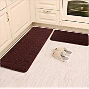 "Kitchen Rugs,CAMAL 2 Pieces Non-Slip Memory Foam Kitchen Mat Rubber Backing Doormat Runner Rug Set (16""x24""+16""x48"", Brown)"