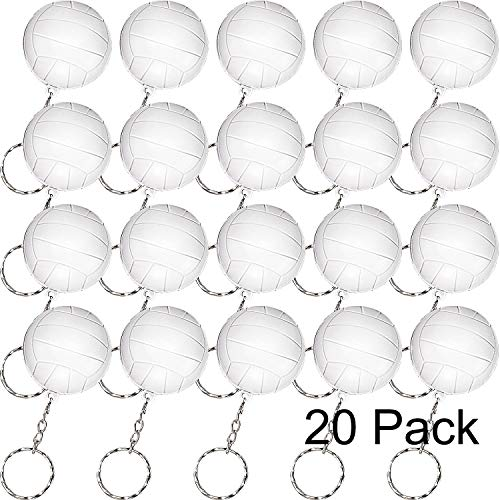 Blulu 20 Pack Sport Keychains or Kids Party Favors, School Carnival Reward, Party Bag Gift Fillers (Volleyball Keychains) ()