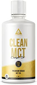 Clean MCT Oil: 100% Pure C8 Caprylic Acid Triglycerides | Best Ketogenic Supplement for Everyday Use | The Ultimate Keto Coffee Fat for Ketones | by LevelUp® (32oz)