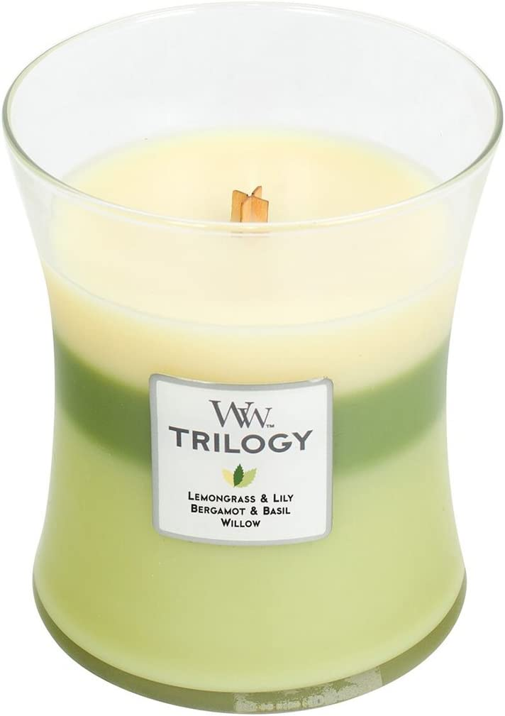 WoodWick Trilogy Garden Oasis, 3-in-1 Highly Scented Candle, Classic Hourglass Jar, Medium 4-inch, 9.7 oz