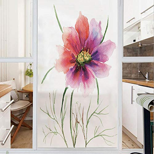 Decorative Window Film,No Glue Frosted Privacy Film,Stained Glass Door Film,Beautiful Two Colored Flower Blossom Nature Spring Revival of Life Decorative,for Home & Office,23.6In. by 35.4In Fuschia Re
