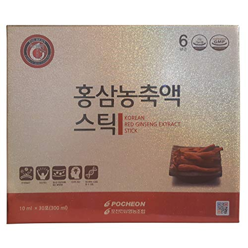 Pocheon Korean Red Ginseng Extract, 30% Ginseng Extract, Single Serving Packs – 30 Sticks (10ml x 30)