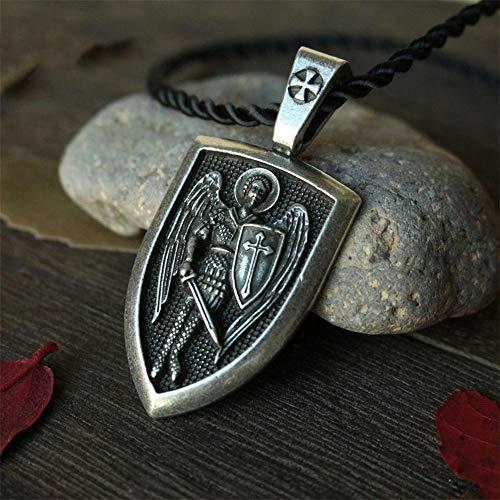 (Ecklace Archangel St.Michael Protect Me Saint Shield Protection Charm russian orhodox pendant)