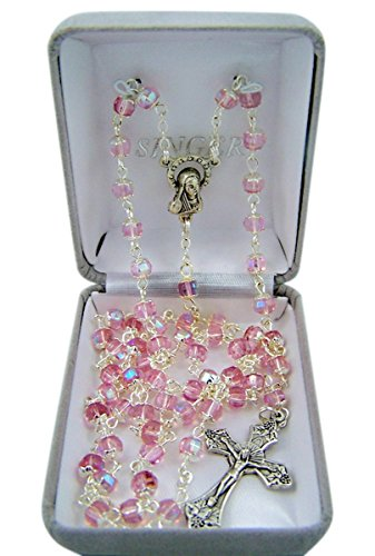 Catholic Pink Glass Capped Prayer Bead Rosary Necklace, 24 Inch ()