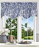 Cheap Simple Comfort Meadow Textured Open Floral Pattern (Scallop Valance, 50 x 15″, Cobalt Blue)