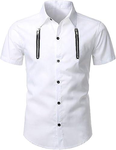 Camisas para Hombres Camisetas para Hombres Camisa De Manga Corta De Verano Hombre Camisa con Cuello Alto BotóN Camisas Casual Camiseta De Color SóLido Blusas De Negocios Resplend: Amazon.es: Ropa y accesorios