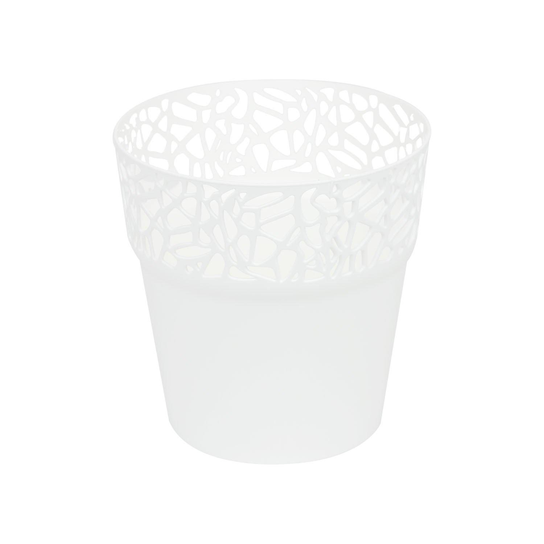 Low round RATO flower pot 30 cm rattan planter in mocca beige colour