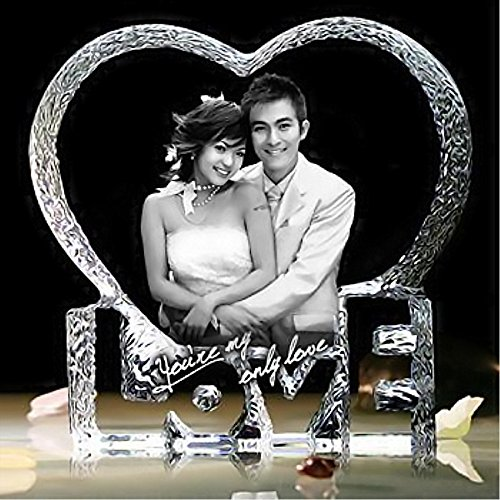 Qianruna Personalized Custom 2D/3D Laser Etched Photo Engraving Crystal Glass Heart Iceberg,Wedding and, Birthday Gift for Mom and Wife (Large)