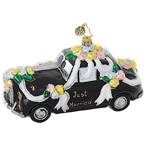 Christopher Radko Heading To the Chapel Bridal Car Themed Glass Ornament