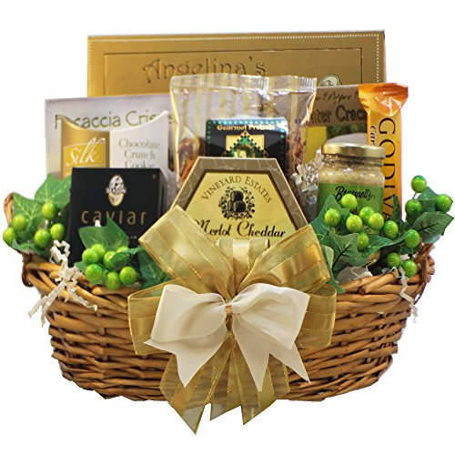 - Savory Sophisticated Gourmet Food Gift Basket with Caviar, Medium (Chocolate Option)