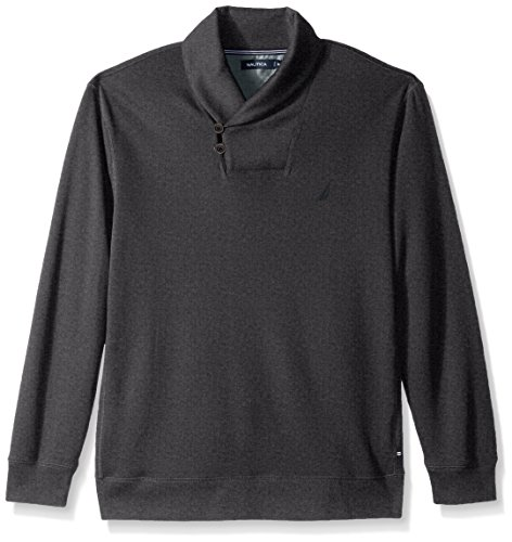 Nautica Men's Long Sleeve Shawl Collar Pullover, Charcoal Grey, XX-Large (Men Shawl Sweater)