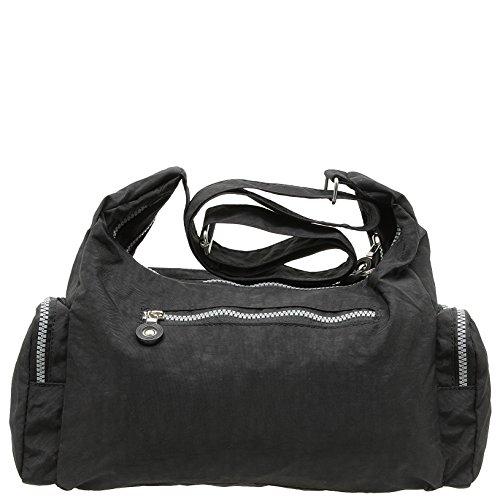 Bag Street Umhängetasche schwarz Nylon-Damenhandtasche