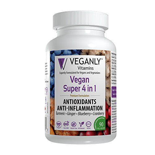 VEGANLY Vitamins- Vegan Super 4 in 1 Antioxidants & Anti-Inflammation. All Natural All-in-One from Turmeric, Ginger, Blueberry, Cranberry (90 caps) Multiple Benefits Including Beauty & Pain Relief